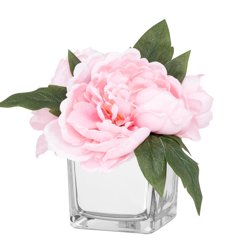 Peony Faux Arrangement in Glass Mirror Cube Vase - Light Pink