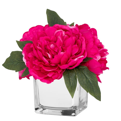 Peony Faux Arrangement in Glass Mirror Cube Vase - Fuchsia