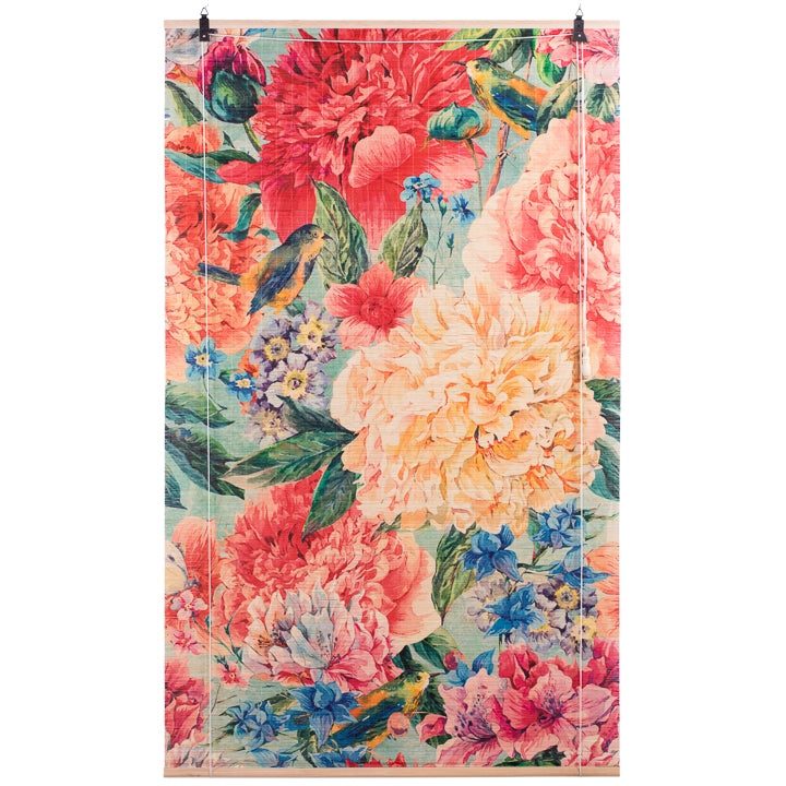 Okama Printed Natural Bamboo Roll Up Shade - Flower