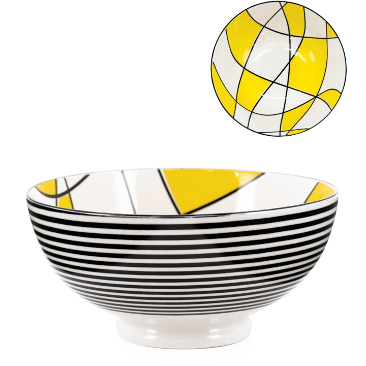 "Kiri Porcelain 8"" Large Bowl - Abstract Yellow"