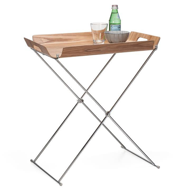 Kento Folding Wooden Tray Table - Light Brown