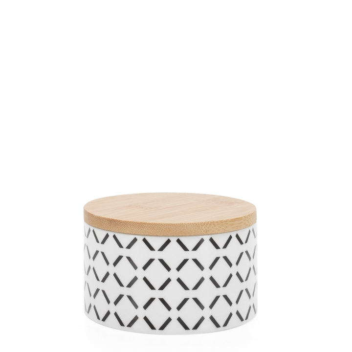 "Kiri Porcelain 4d x 2h"" Canister - Black Crosshatch"