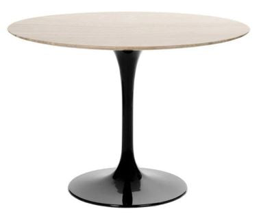 "Barbell Walnut Round 48"" Dining Table - Black Base"