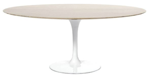 Barbell Walnut Oval Dining Table - White Base