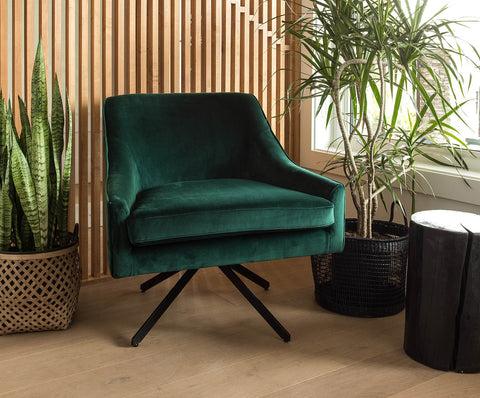 Ethan Swivel Chair - Deep Green