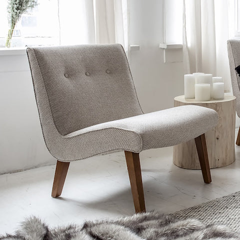 Fifi Occasional Chair – Oatmeal with Walnut Legs