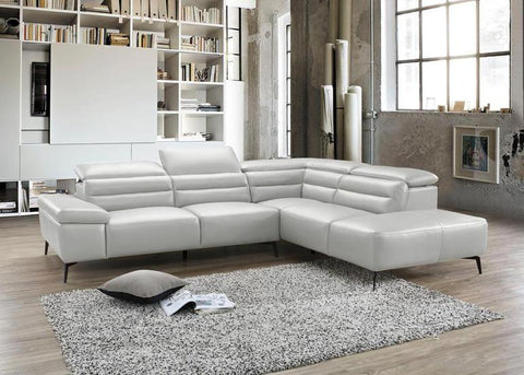 Camello Leather Sectional Sofa - Silver