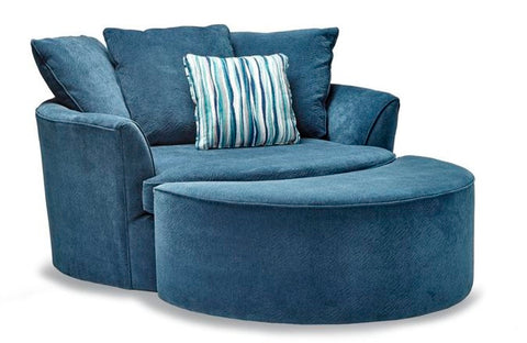 Robson Chair & Ottoman in Indigo - Custom Made