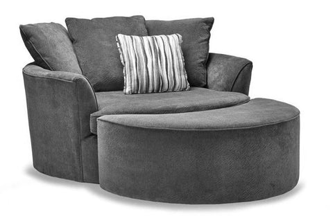 Robson Chair & Ottoman in Charcoal - Custom Made
