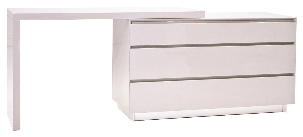 Savvy Glass Top Extension Desk - High Gloss White