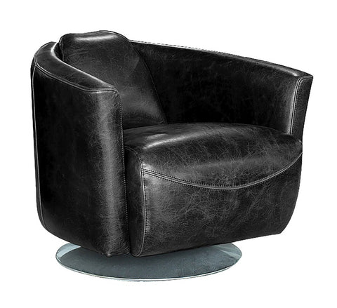 Lannister Swivel Club Chair - Black