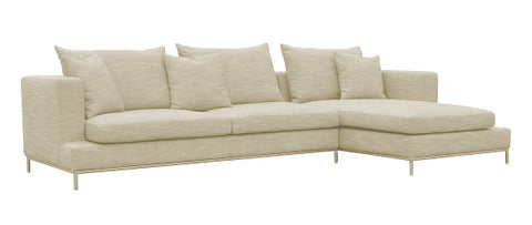 Simena Sectional Sofa - Cream Tweed Fabric