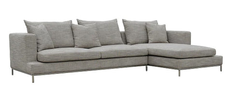 Simena Sectional Sofa - Grey Tweed Fabric