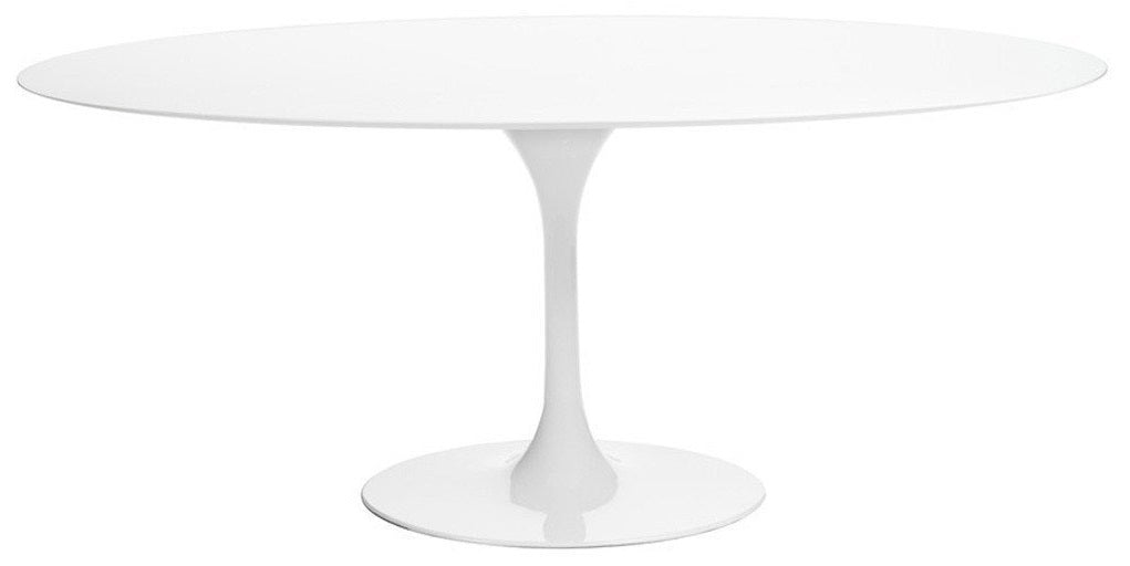 Barbell White Wood Oval Dining Table