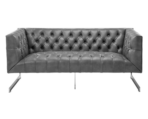 Viper Grey Nobility Leather Loveseat