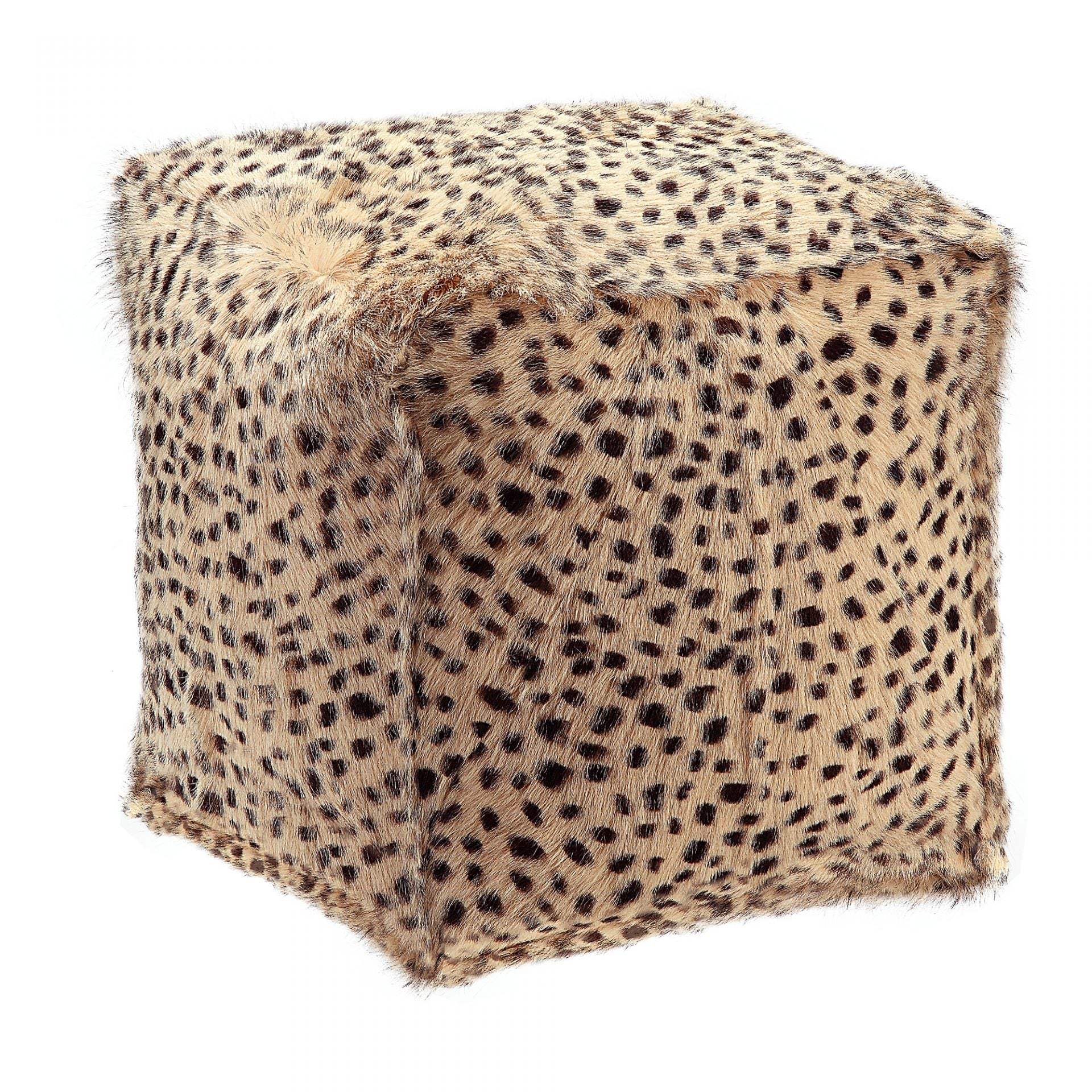 Spotted Goat Fur Pouf - Cream