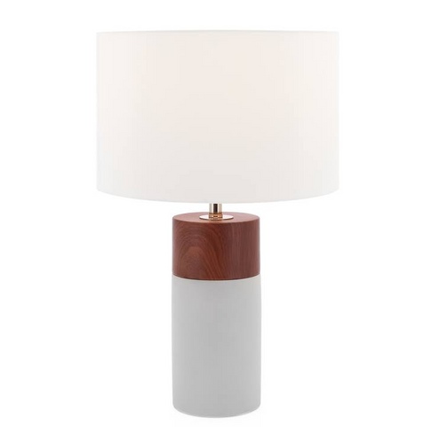 Loris Column Woodgrain / Cement Table Lamp