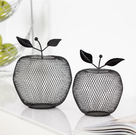 Decorative Apple Black Mesh Sculpture - Small