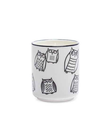 Kiri Wax Filled Porcelain Votive Candle Cup - Owl Outline