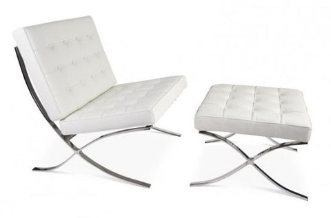 Barcelona Pavilion Lounge Chair and Ottoman - White