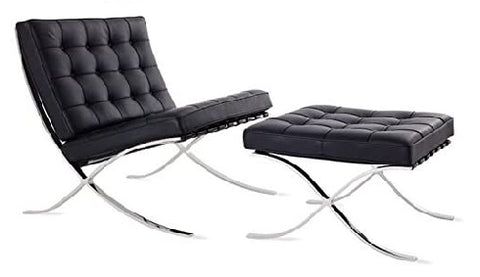 Barcelona Pavilion Lounge Chair and Ottoman - Black