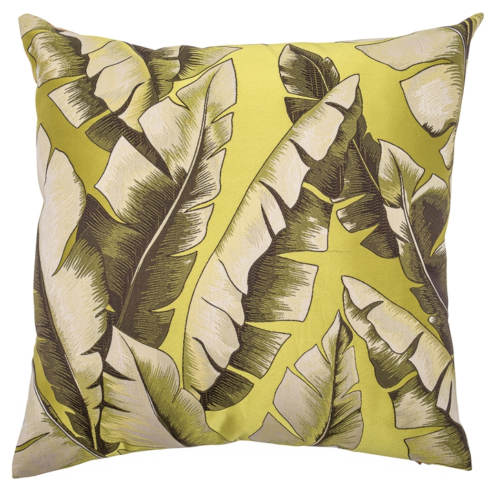 Banana Leaf Satin Green Woven Accent Cushion