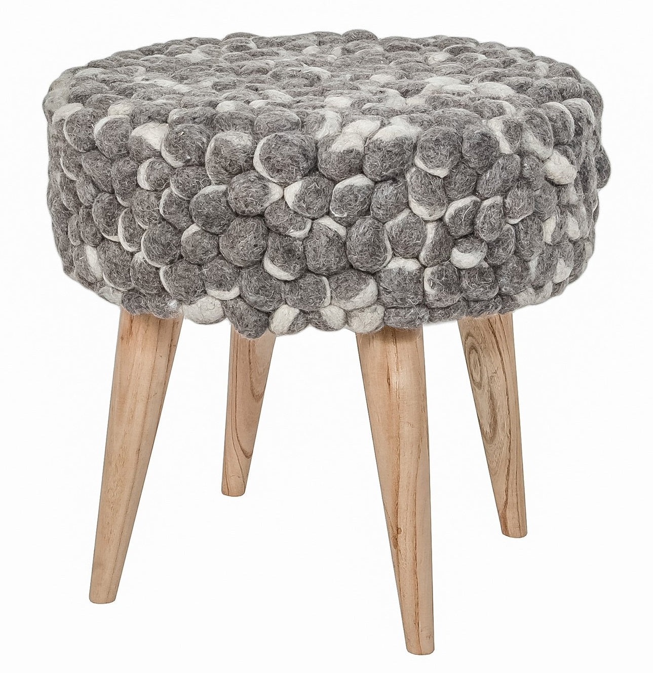 #SALE! Bohemian Stool Felted Wool - Grey