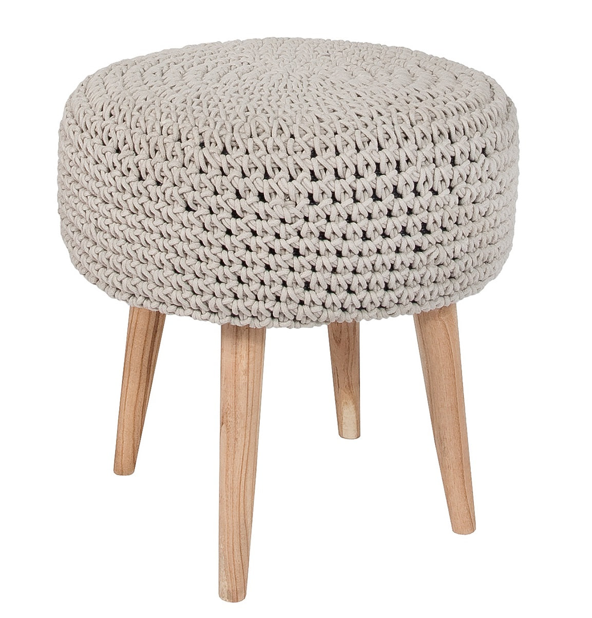 Bohemian Macrame Stool - Light Grey