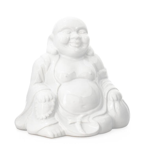 Laughing Buddha Ceramic Decor Statue - White