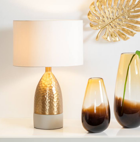 Loris Conical Brass / Cement Table Lamp