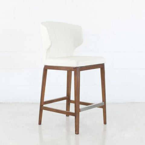 Cabo Leather Bar Stool - White with Wooden Base