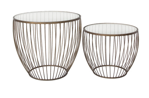 Cyclone Glass New Gold Accent Tables - Set of 2