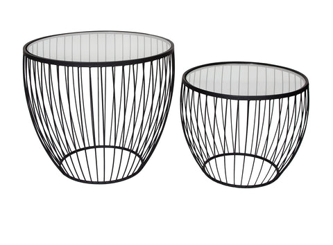 Cyclone Glass Matte Black Accent Tables - Set of 2