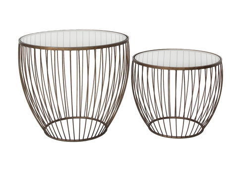 Cyclone Glass Gold Accent Tables - Set of 2