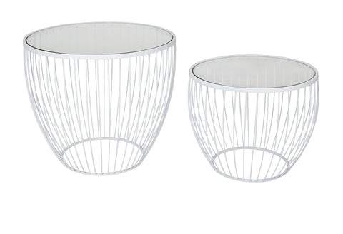 Cyclone Glass Matte White Accent Tables - Set of 2