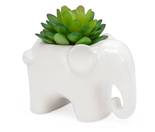 Animal Garden Ceramic Elephant Potted Faux Succulent