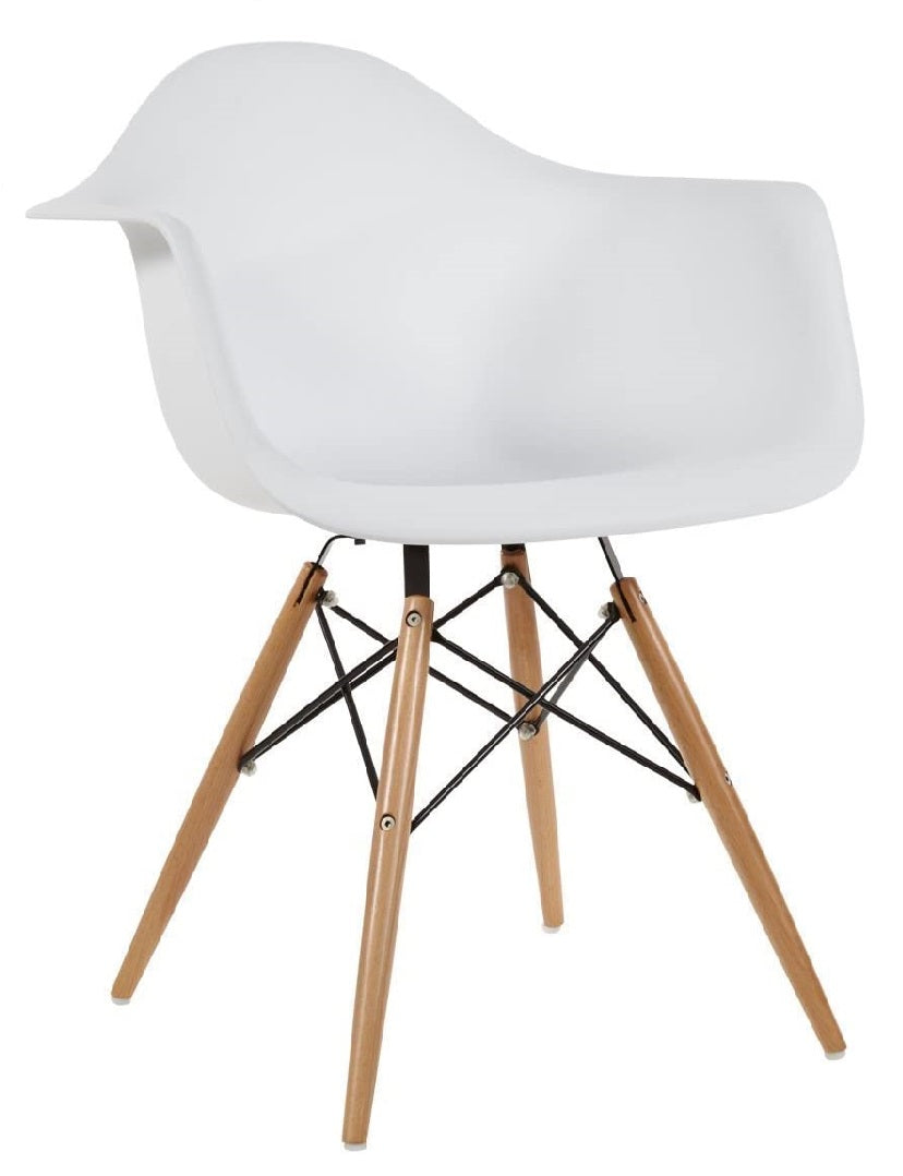 Eiffel Arm Chair - White with Natural Base