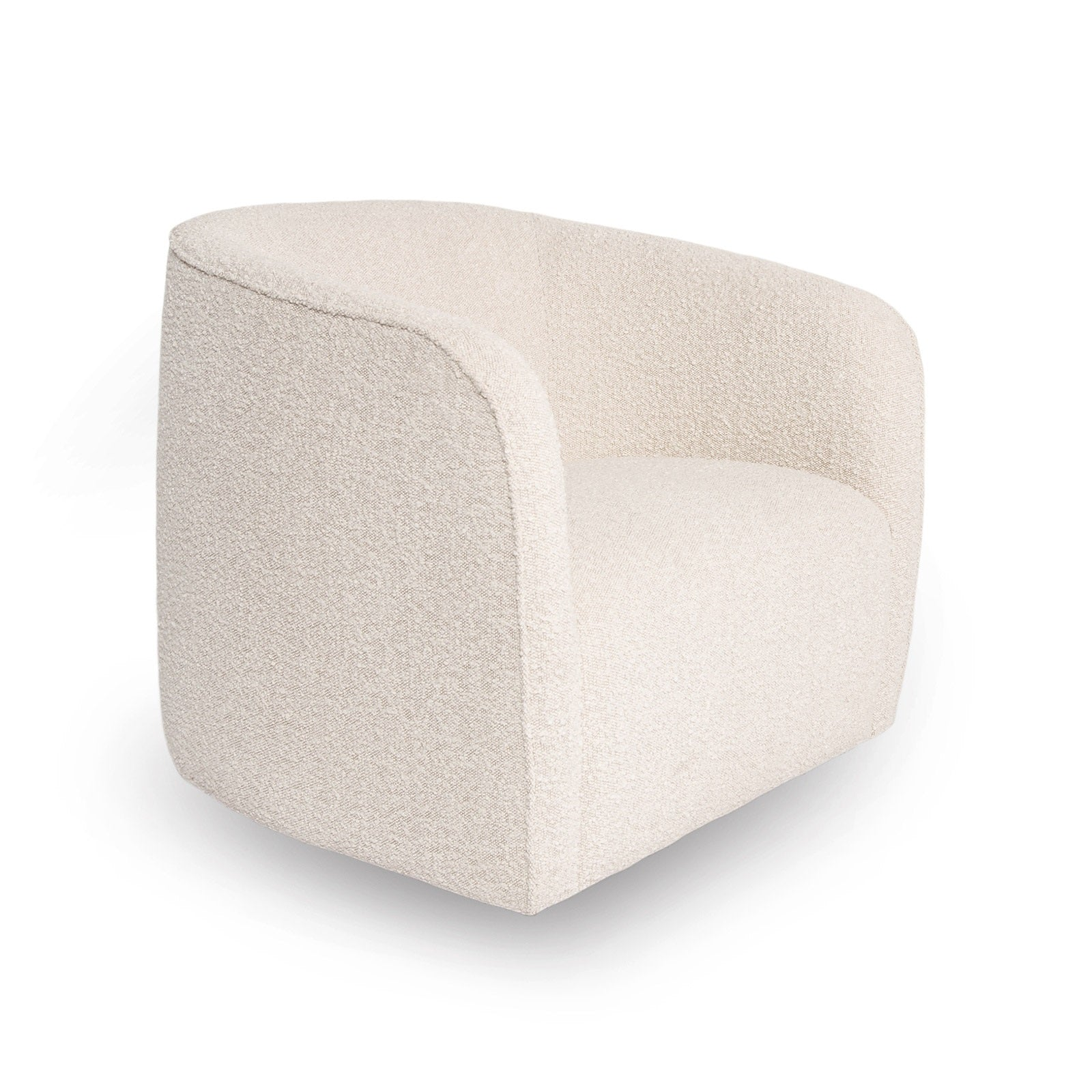 Evita Swivel Chair – Cream Bouclé