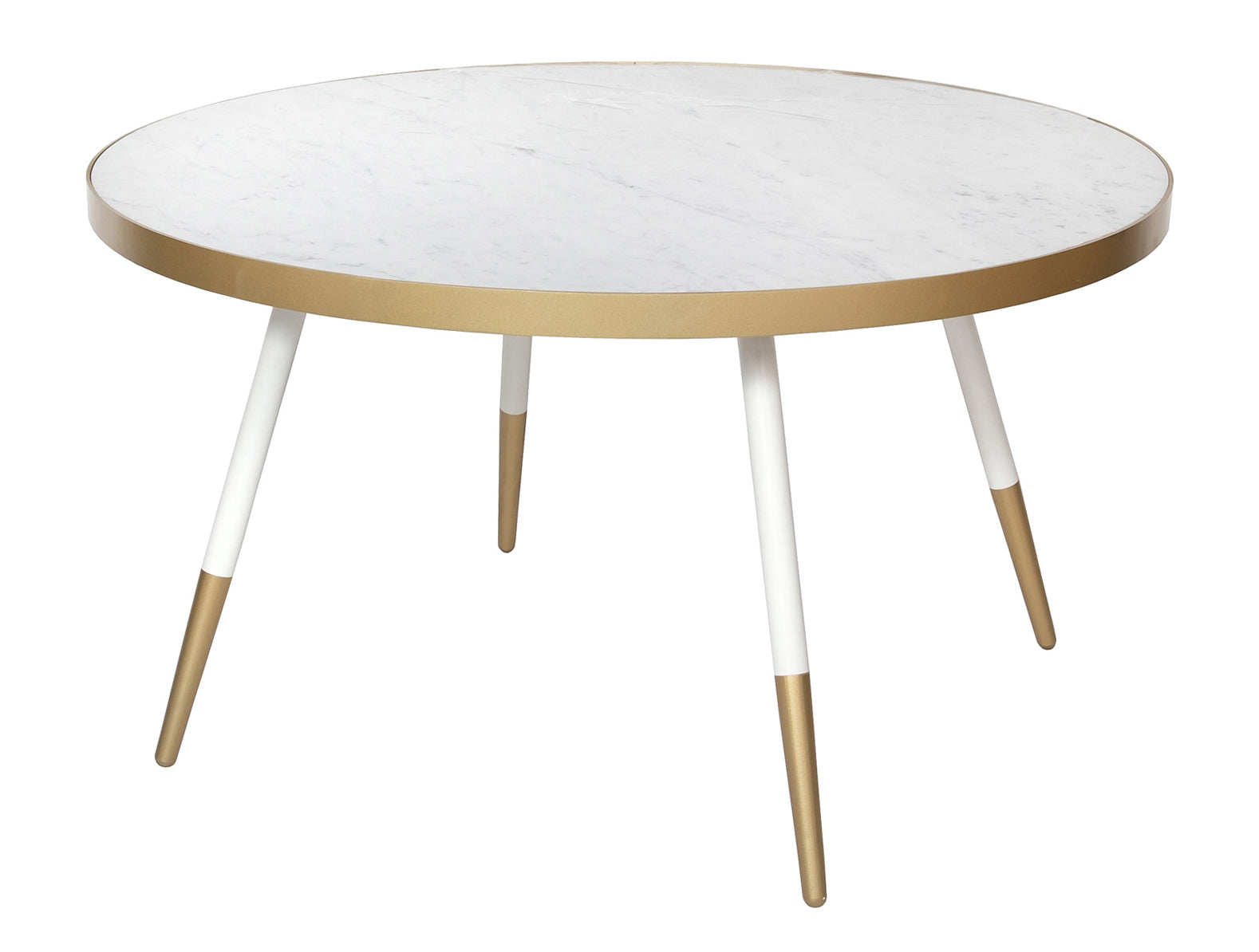 Florence Coffee Table – White Marble with Gold Base