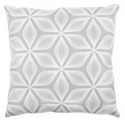 Geometric Floral Embroidered Cushion - Grey