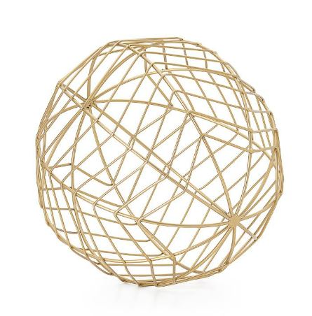 "Chevron Metal Wire 10"" Decor Ball - Large"