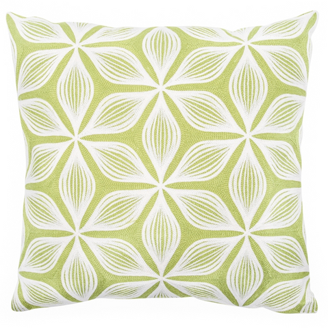 Geometric Floral Embroidered Cushion - Green