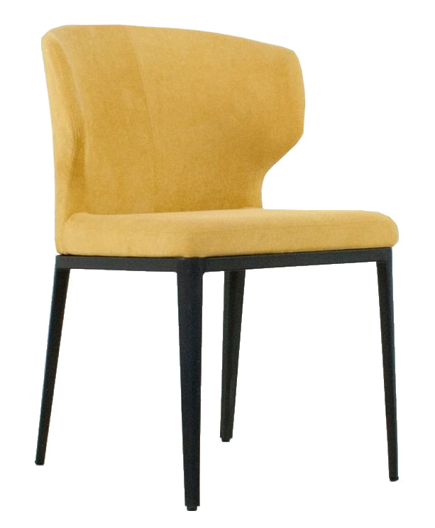Cabo Fabric Dining Chair - Mustard with Black Metal Base