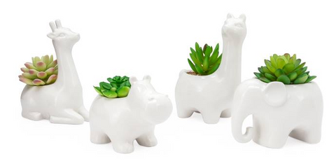 Animal Garden Ceramic Llama Potted Faux Succulent