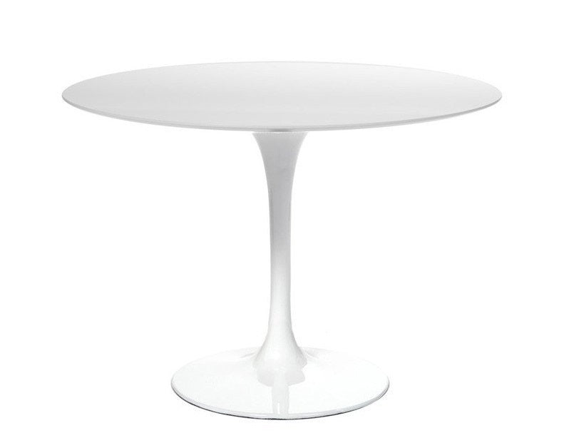 Barbell White Wood Round Dining Table