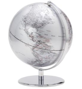 Latitude World Globe - Silver