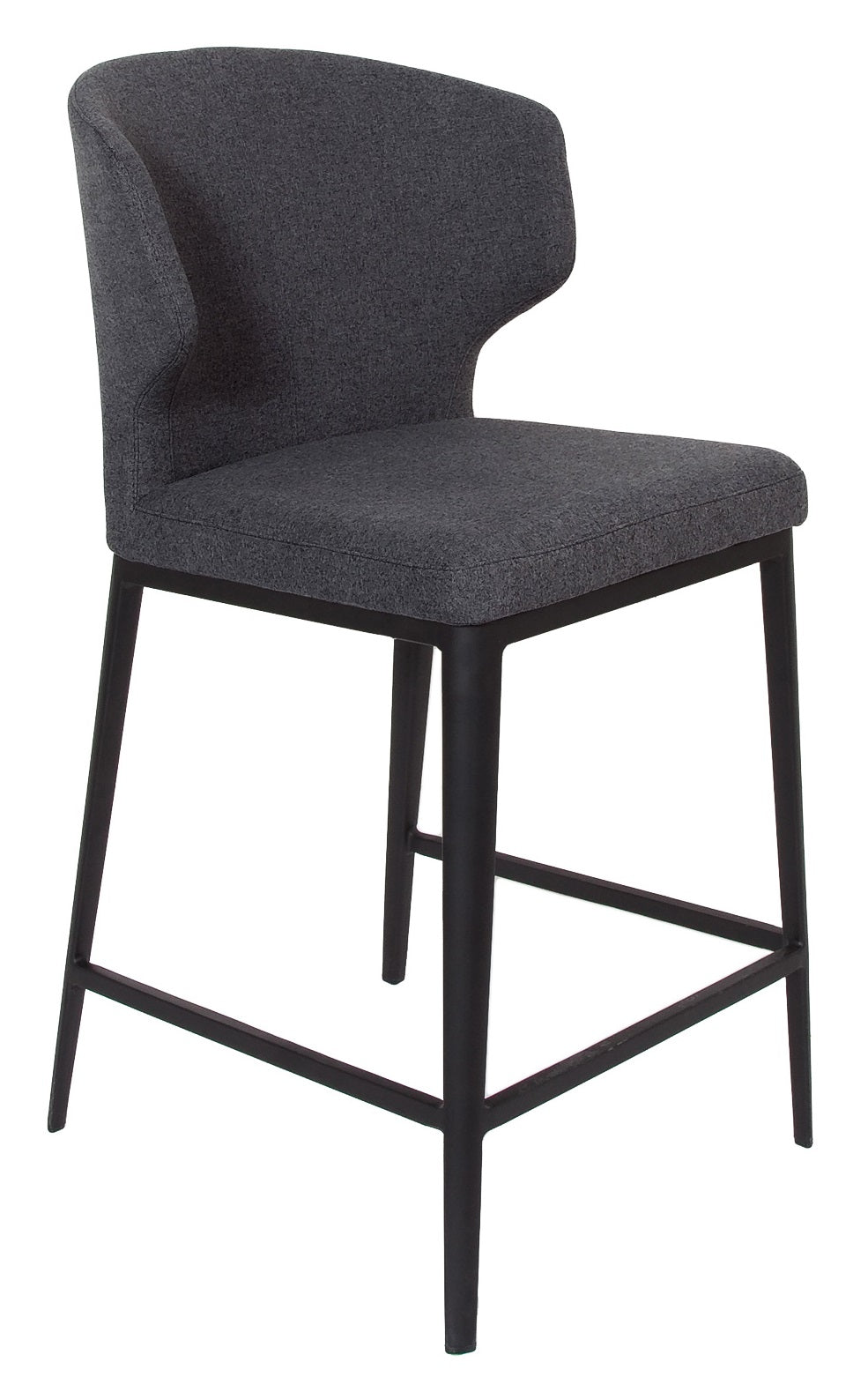 Cabo Fabric Counter Stool - Dark Grey with Metal Base