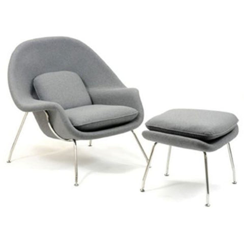 Woo Lounge and Ottoman - Light Grey