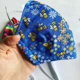 Cotton Face Mask Small (kids) Blue Bee's
