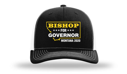 Image of Lyman Bishop For Governor of Montana 2020 Black/White Trucker Hat